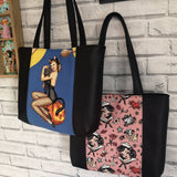 Sailor Pinup Tote Bag, Pinup Girls Bag, Retro Tattoo Handmade Purse - The Curious Needle