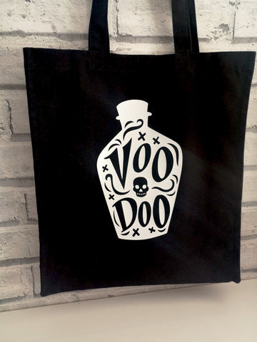 Voodoo Black Canvas Tote Bag, Halloween Book Bag - The Curious Needle