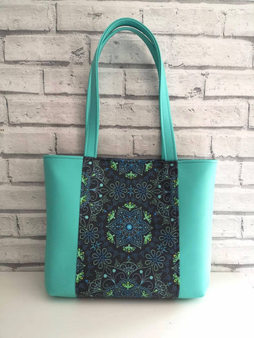 Mandala Tote Bag, Turquoise Boho Tote Bag, Handmade Purse - The Curious Needle