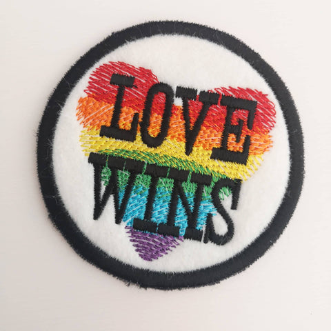 Love Wins Patch, Gay Pride Patch, LBGTQ Patch, Rainbow Heart Patch, Gay Rights Patch, Ally Patch