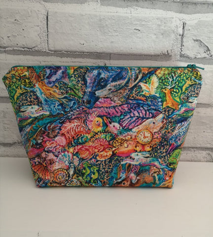 Watercolour Animal Makeup Pouch, Colourful Cosmetic Bag - The Curious Needle