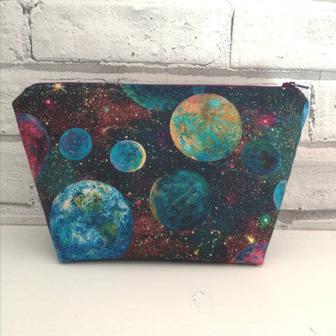 Galaxy Makeup Pouch, Colourful Planets Cosmetic Bag - The Curious Needle