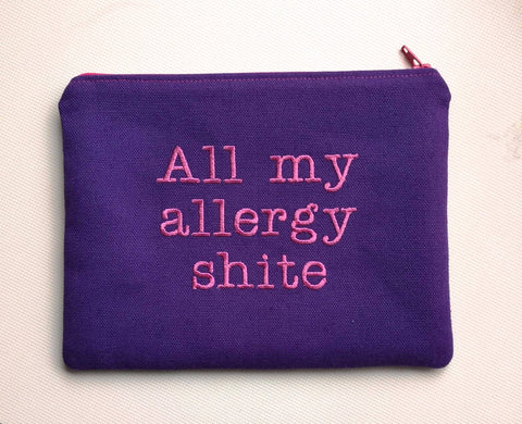"All My Allergy Shite"" Zip Pouch. Funny Allergy Medication Bag."