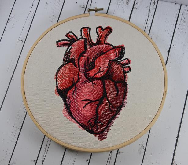 Anatomical Heart Embroidered Hoop Art Valentines Day