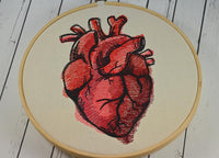 Anatomical Heart Embroidered Hoop Art, Valentine's Day, Anniversary Gift