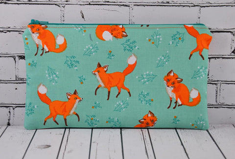 Fox Pencil Case, Small Makeup Bag - The Curious Needle