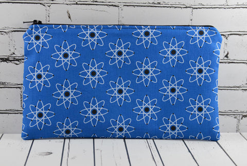 Atomic Blue Science Pencil Case. Geeky Zip Pouch