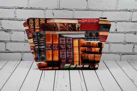 Books Makeup Bag, Library Print Cosmetic Zip Pouch - The Curious Needle