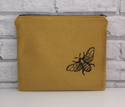 Velveteen Bumble Bee Large Zip Pouch, Cosmetic Bag - The Curious Needle