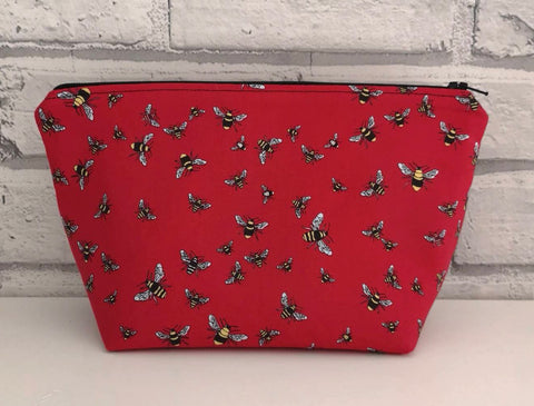 Bumble Bees Make Up Bag, Bees Cosmetic Case - The Curious Needle