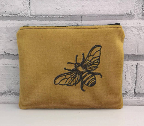 Velveteen Bumble Bee Coin Purse, Small Zip Pouch - The Curious Needle