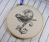 Bird Scroll Hoop Art - Machine Embroidery - The Curious Needle