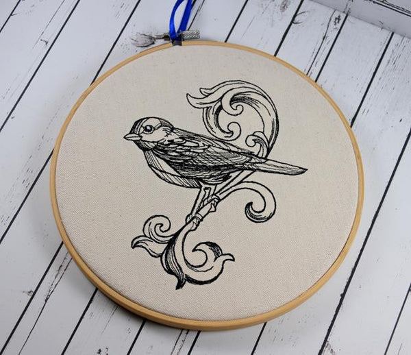 Bird Scroll Hoop Art - Machine Embroidery