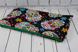 Mexican Sugar Skull Pencil Case, Day of the Dead Zip Pouch - The Curious Needle