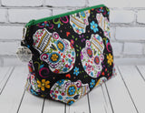 Day of the Dead Makeup Bag, Sugar Skull Large Zip Pouch