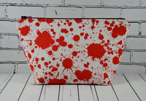 Blood Spatter Makeup Bag, Horror Fan Cosmetic Pouch - The Curious Needle