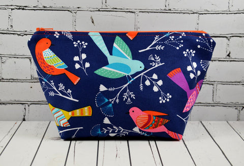 Bright Birds Makeup Bag, Birds Cosmetic Zip Pouch