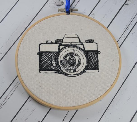 Retro Camera Hoop Art - Machine Embroidered Art