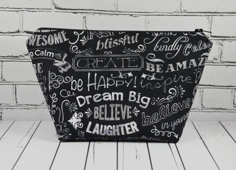 Chalkboard Makeup Bag, Large Zip Pouch