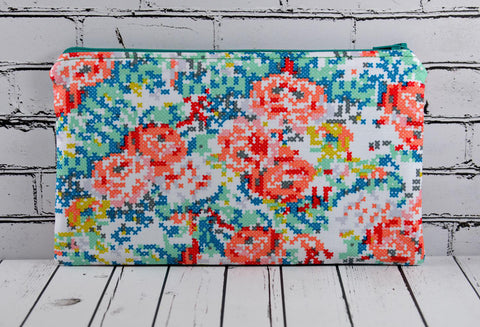 Floral Cross Stitch Effect Pencil Case - The Curious Needle