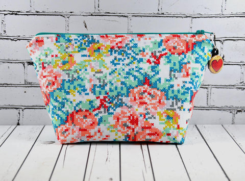 Floral Make Up Bag, Cross Stitch Effect Zip Pouch