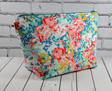 Floral Make Up Bag, Cross Stitch Effect Zip Pouch - The Curious Needle