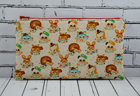 Cute Animals Pencil Case, Kitsch Animals Zip Pouch, Retro Kawaii Makeup Bag, Cat Toiletry Bag - The Curious Needle