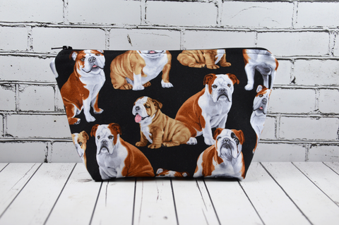 English Bulldog Make Up Bag, Dog Cosmetic Pouch