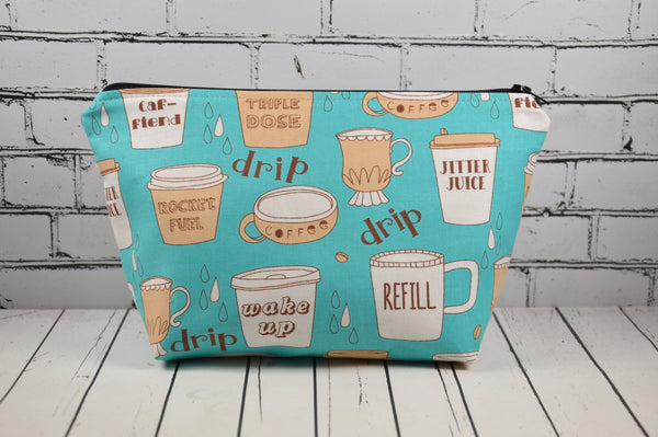 Coffee lover, caffeine addict cosmetic bag, gift