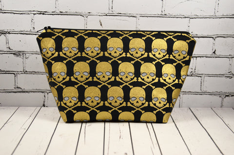 Metallic Gold Skull Makeup Bag, Skull Cosmetic Bag - The Curious Needle