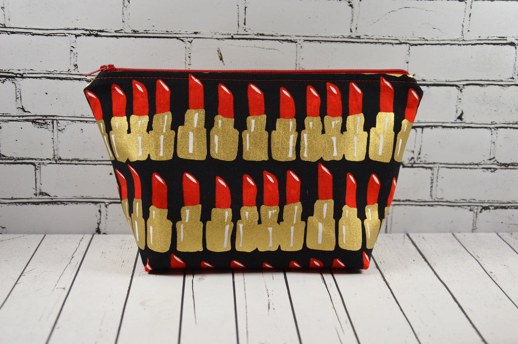 Lipstick print cosmetic pouch, gold makeup bag