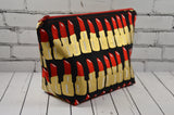 Metallic Lipstick Print Make Up Bag, Cosmetic Pouch