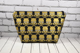 Gold and black skull cosmetic bag