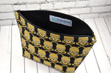 Metallic Gold Skull Makeup Bag, Skull Cosmetic Bag