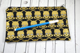 Black & Gold Skull Pencil Case