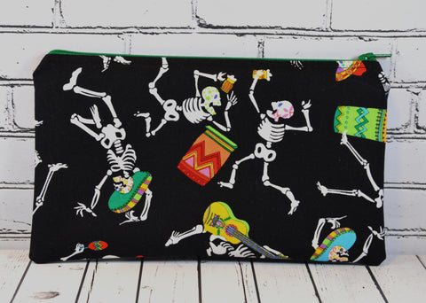 Skeleton Pencil Case, Day of the Dead Pencil Pouch - The Curious Needle