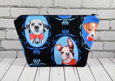 Dalmatian, Terrier, French Bulldog Make Up Bag, Dog Cosmetic Pouch