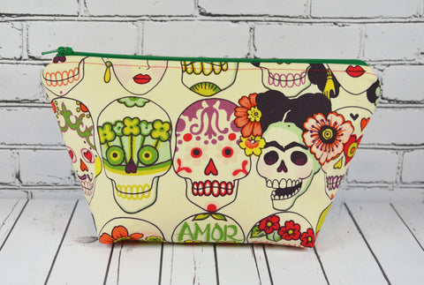 Frida Kahlo Sugar Skull Makeup Bag, Large Zip Pouch