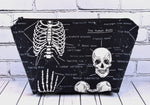 Glow in the Dark Skeleton Makeup Bag, Large Zip Pouch