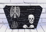 Glow in the Dark Skeleton Makeup Bag, Large Zip Pouch - The Curious Needle