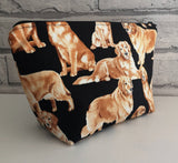 Golden Retriever Make Up Bag, Dog Cosmetic Pouch