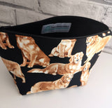 Golden Retriever Make Up Bag, Dog Cosmetic Pouch - The Curious Needle