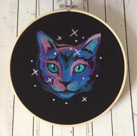 Cat Galaxy Embroidered Wall Art, Cat Owner Gift