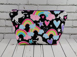 Glitter Unicorn Makeup Bag, Rainbow Zip Pouch. - The Curious Needle