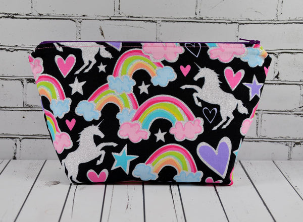 Glitter Unicorn Makeup Bag, Large Zip Pouch.