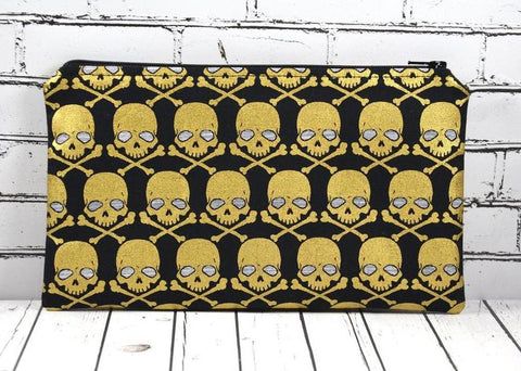 Black & Gold Skull Pencil Case. Metallic Skull Zip Pouch