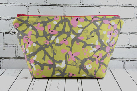 Green & Pink Floral Makeup Bag, Large Zip Pouch - The Curious Needle