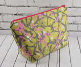 Green & Pink Floral Makeup Bag, Large Zip Pouch