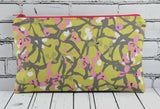 Green & Pink Floral Pencil Case - The Curious Needle
