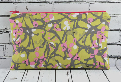 Green & Pink Floral Pencil Case, Flowers Zip Pouch